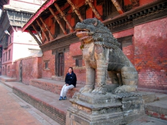 Becky marvels at the amazing aura of Patan Durbar Square