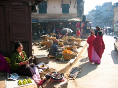An early morning view of Patan's produce market