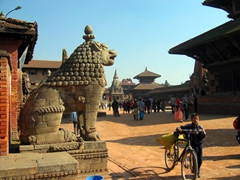 View of Bhaktapur's Lion Gate, which dates from 1696 A.D.; Durbar Square