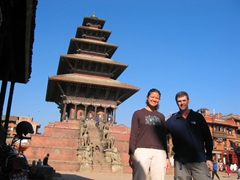 Posing in front of the Nyatapola temple, a 5 storey temple that was built in 1702; Bhaktapur