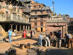 Pottery is a family affair in Bhaktapur, where the famous pottery square can be seen