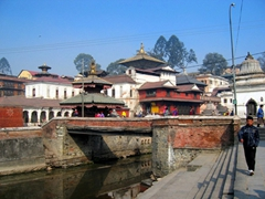 View of UNESCO world heritage site Pashupatinath Temple, one of the most significant Hindu temples of Lord Shiva in the world. Only Hindus can enter the premises