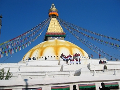 One of the largest Buddhist Stupas in the world, Boudhanath Stupa. This site is akin to Mecca for Tibetan Buddhists. Every year, tens of thousands of pilgrims from all over the Himalayan region visit this stupa