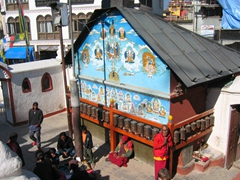 Prayer wheels at the base of Boudha Nath Stupa, one of the oldest and the biggest Buddhist monuments ever built in Nepal