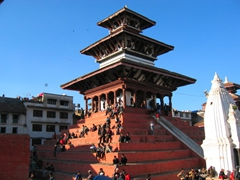 Kathmandu Durbar Square (sometimes referred to as Basantapur Durbar Square) is the plaza in front of the old royal palace of the Kathmandu Kingdom