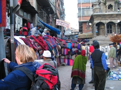 Colorful textiles for sale; Kathmandu Durbar Square