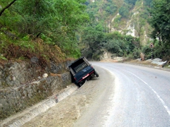 This person is having a bad day, and was probably speeding on the road to Chitwan National Park