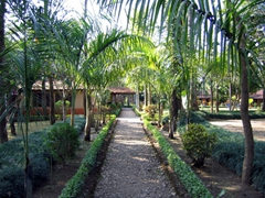 The inviting garden of our hotel, the Safari Narayani Lodge; Chitwan