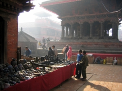 An early morning mist over this souvenir stand; Patan Durbar Square