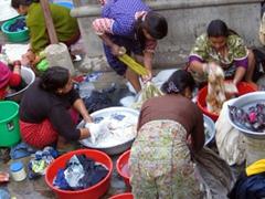 Women washing laundry in Patan