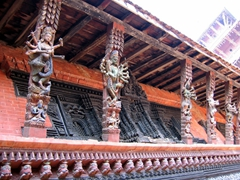 Ornately carved wooden figurines, Durbar Square; Patan