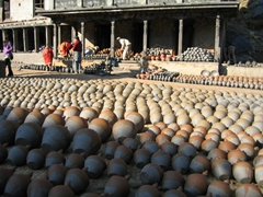Hundreds of clay pots laying out to dry at Potters Square; Bhaktapur