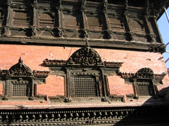 Detail of a unique masterpiece of wood carving, the Palace of 55 Windows in Bhaktapur Durbar Square