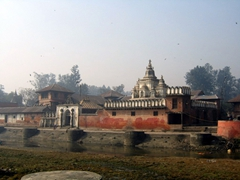 The Pashupatinath Temple is the oldest Hindu temple in Kathmandu. The nearby Bagmati River is also considered sacred, and is used by pilgrims as a ghat (bathing spot)