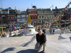 Robby strikes a pose near Boudhanath Stupa, Kathmandu