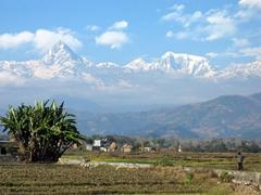 A majestic view of the Himalayas; outside Pokhara