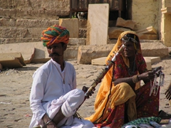 Early morning entertainers; Jaisalmer Fort