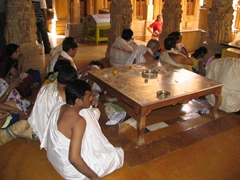 Jain worshippers at the fabulous Jain temple; Jaisalmer