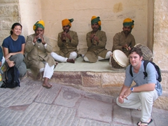 Posing with Jodhpur Fort musicians