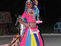 Local Pushkar girl performing traditional dance; Oasis Pushkar Camp