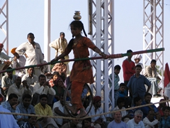 Young tightrope entertainer; Pushkar Festival