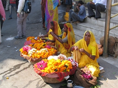 Flower vendors at the base of the Jagdish temple