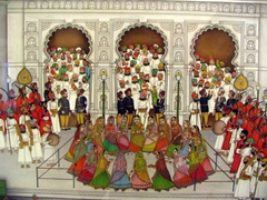 Close up of painting; Udaipur City Palace Museum