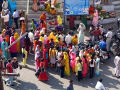Colorful crowd at the base of Jagdish Temple; Udaipur