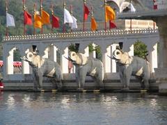Stone elephants greeting our arrival to Jagmandir Island; Lake Pichola