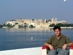 Robby chills out with Udaipur's skyline in the background