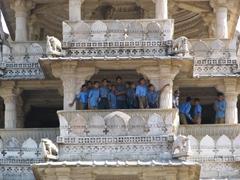 Excited school kids; Chaumukha Temple; Ranakpur