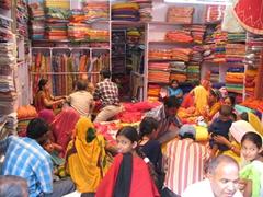 Colorful textiles for sale; Jodhpur