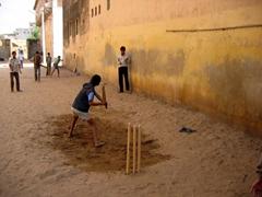 Impromptu game of cricket; Nawalgarh