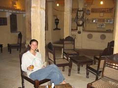 Becky chilling out at the bar, Narayan Niwas Palace Hotel