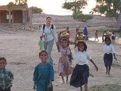 Laughing with the village girls; Jaisalmer desert