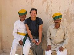 The very friendly Jodhpur Meherangarh Fort's staff pose with Becky