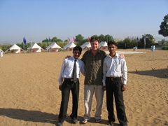 Robby posing with staff; Oasis Pushkar Camp