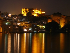 Night time view of Udaipur