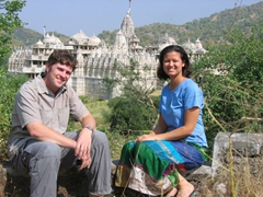 Robby and Becky pose against the back drop of the Chaumukha Temple; Ranakpur