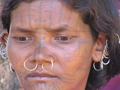 Close up view of a Kutia Kondh woman