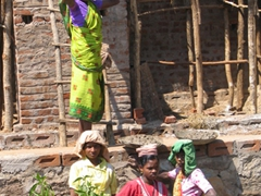 Female construction workers, near Kotagarh market