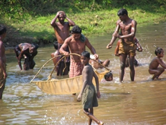 Locals fishing in the river, near Bissam Cuttack