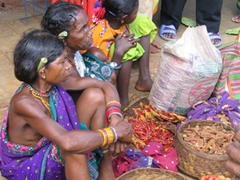 Gadhaba tribal women selling hot chillies; notice the marijuana stogie behind their ears!