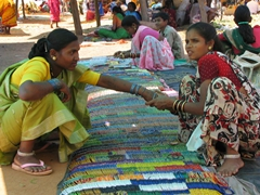 Muria tribal woman purchasing glass bracelets, Narayanpur Sunday weekly market