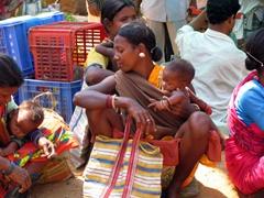 Taking a break from shopping, Narayanpur market