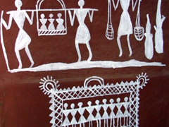 Traditional tribal paintings (white flour paste on the outside of clay adobes)
