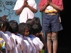 Dhuruba tribal children chanting prayers before starting school