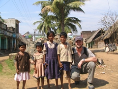 Robby posing with Nayagarh school children