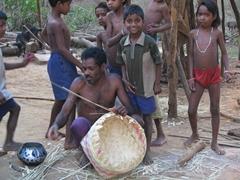 Kondh tribesman weaving a basket, Nadi Guda