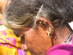 Detailed shot of a Dongariya Tribeswoman (notice her pierced ears, nose and the hair-clip)